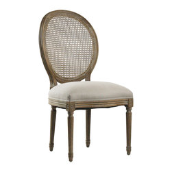 Medallion Cane Back Side Chair - Medallion cane back side chair with natural linen and an intricately carved limed grey oak finish. Imported.