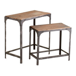 Cyan Design - Cyan Design Winslow Nesting Table - Pack of 2 X-66840 - Industrial details and a mix of materials helps to create a masculine feel to this pack of two Cyan Design nesting tables. From the Winslow Collection, these nesting tables feature natural wood tops and raw iron framing, with beautiful wood tones and distressed finishing to the metal to complete the look.