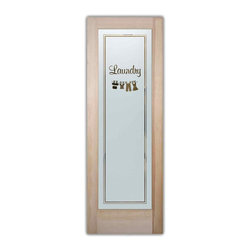 Sans Soucie Art Glass - Clothesline 1 Laundry Room Door - Laundry Room Door with Sandblast Etched Glass - Clothesline 1 Laundry Room Door - Quality, hand-crafted sandblast etched glass.