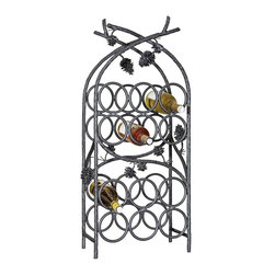 Mathews & Company - Piney Woods 12-Bottle Wine Rack - This beautiful wrought iron wine rack will show off your wine collection with rustic style. Featuring intricately handcrafted iron pine cones, the Piney Woods collection brings the majesty of the forest into your home. There is room for twelve wine bottles in this hand welded rack. In addition, the rack comes in four finishes to perfectly match your personal style and home decor: the standard natural black, rust, aged pewter or aged bronze.