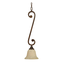 Craftmade - Craftmade Toscana Traditional Mini Pendant Light X-1RP7019 - Craftmade presents the Toscana Traditional Mini Pendant Light. It features a classic bell style shade in Antique Scavo glass and a Peruvian Bronze frame. Resembling contours of music notes, the body is uniquely styled and will add a touch of traditional style to any home.