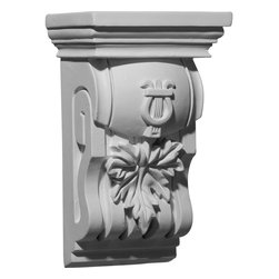 "Ekena Millwork - 6 3/4""W x 4 3/8""D x 10 3/4""H Oak Leaf Corbel - 6 3/4""W x 4 3/8""D x 10 3/4""H Oak Leaf Corbel. These corbels are truly unique in design and function. Primarily used in decorative applications urethane corbels can make a dramatic difference in kitchens, bathrooms, entryways, fireplace surrounds, and more. This material is also perfect for exterior applications. It will not rot or crack, and is impervious to insect manifestations. It comes to you factory primed and ready for your paint, faux finish, gel stain, marbleizing and more. With these corbels, you are only limited by your imagination."
