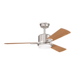"Kichler 2-Light Ceiling Fan - Brushed Stainless Steel - Two Light Ceiling Fan Clean, modern lines and contemporary finishes give this lighting ceiling fan an understated and elegant appeal. From the Celino collection, it features three reversible light or medium oak blades with a brushed stainless steel finish and glass shade with a clear exterior and white cased opal interior. 153mm x 18mm motor size. 48"" blade sweep and 14 blade pitch. Includes 6"" downrods with 1"" (o. D. ). Hand held control system (included) manual reverse. Downlight integrated: uses (2) e-11 50-watts halogen j type t-4 lamps (included). 3 speeds - manual reverse"