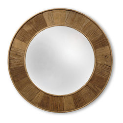Kathy Kuo Home - Boardwalk Rustic Lodge Natural Finish Reclaimed Pine Round Mirror - Reflecting a love of natural elements like wood and water, this reclaimed round mirror adds a rustic touch to any size wall. The rich brown finish of the frame contrasts with the silver mirror centered in the circle.