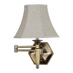 Kenroy - Mackinley Traditional Swing Arm Wall Sconce - These traditional swing arm lamps call back to colonial times with an ornate candlestick profile and antique finish.  Substantial and solid, swing arms are excellent reading lamps.  *Cord Cover Included