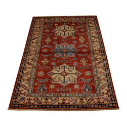 1800-Get-A-Rug - Super Kazak 100% Wool Tribal and Geometric Hand Knotted Area Rug Sh16724 - Our Tribal & Geometric hand knotted rug collection, consists of classic rugs woven with geometric patterns based on traditional tribal motifs. You will find Kazak rugs and flat-woven Kilims with centuries-old classic Turkish, Persian, Caucasian and Armenian patterns. The collection also includes the antique, finely-woven Serapi Heriz, the Mamluk Afghan, and the traditional village Persian rug.