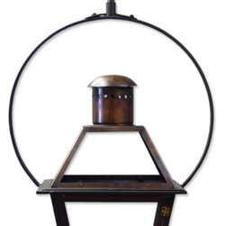 French Quarter Lantern on a Yoke bracket | Copper Lights | Bevolo Gas & Electric - The French Quarter Yoke makes hanging a gas light safe and beautiful. Over the years, this design has become one of our most popular. This bracket incorporates an extra level of symmetry to our original French Quarter Lantern. The yoke bracket is also available with a ladder rack (pictured with white background below.) The Original French Quarter Light on a Yoke is available in natural gas, liquid propane, and electric.
