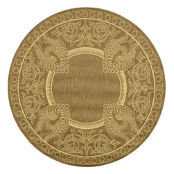 """Safavieh - Indoor/Outdoor Courtyard Round 5'3"""" Round Brown - Natural Area Rug - The Courtyard area rug Collection offers an affordable assortment of Indoor/Outdoor stylings. Courtyard features a blend of natural Brown - Natural color. Machine Made of Polypropylene the Courtyard Collection is an intriguing compliment to any decor."""