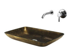 Vigo Industries - Copper Glass Vessel Sink & Faucet - Make a bold statement with this uniquely rectangle Copper Vigo glass vessel sink and faucet set. Durability, design and style put this set on another level.