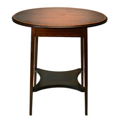 Lavish Shoestring - Consigned Oval Mahogany Inlaid Occasional Table, Antique English, Early 1900s - This is a vintage one-of-a-kind item.