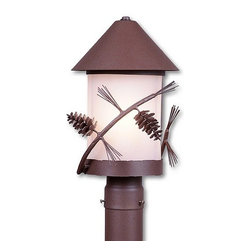 Avalanche-Ranch - Pine Cone Art: Vista Post Mount Small - Rustic Post Lights and Pillar Mount Lights with Pine Cone artwork - Takes (3) 60W C-Type bulb(s)