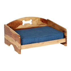 """""""Rustic"""" Pet Bed with Orthopedic Foam Mattress, Small - Handcrafted out of gorgeous solid Sheesham wood, this sophisticated rustic elevated pet bed will complement your home's decor. The genuine denim cover over the orthopedic foam cushion enhances the country-style feel. Admired by everyone, this high quality bed will give your pet a comfortable place to sleep for years to come."""