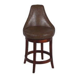 "Chintaly Imports - Brown 30"" Swivel Solid Birch Bar Stool - Double Stitching on the Borders. Antique Brown Design Leather. Comfortable Seat. Foot Rest for Extra Comfort. CA Fire Retardant Foam. Easily Assembled."