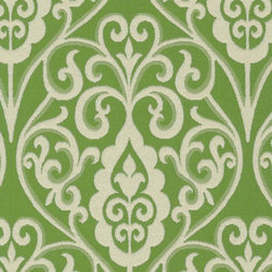 Bristol Scroll Grass Fabric - Bristol Scroll Grass is a fanciful mid-scale medallion pattern that measures twelve inches in height. The soft Ivory pattern is dramatically shown against a cool Grass Green background. This elegant fabric is suitable for window treatments, cornice boards, pillows, cushions, room dividers, table toppers, bedding, headboards and furniture upholstery.