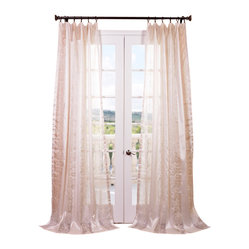 Exclusive Fabrics & Furnishings, LLC - Juliette Ivory Embroidered Sheer Curtain - This delicately embroidered sheer ivory curtain is fit for a princess. Satiny enough to shimmer in the light, yet translucent enough to let light  pass through, it gives the room a soft, romantic aura.