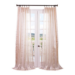 "Exclusive Fabrics & Furnishings, LLC - Juliette Ivory Embroidered Sheer Curtain - 100% Polyester. 3"" Pole Pocket. Imported. Dry Clean Only."