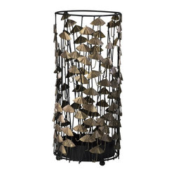 Cyan Design - Cyan Design Umbrella Stand - The simple wire frame of this Cyan Design umbrella stand comes decorated with dainty umbrellas for a charming themed look. The iron stand has been finished in a clean Black hue, with the umbrellas done in Gold for visual vibrancy.