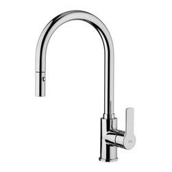 "WS Bath Collections - Red Kitchen Faucet With Two Spray Hand Shower - Red by WS Bath Collections, Kitchen Sink Faucet, with Two-spray ABS Pull-out Hand Shower with Flexible Hose in Polished Chrome Finish, Solid Brass Base, Two-Spray ABS Pull-out Hand Shower with 5.9"" Flexible Hose Single Lever Controls Flow Rate and Temperature, Made in Italy"