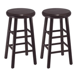 "Winsome Wood - Winsome Wood Set of 2 - 24 Inch Swivel Kitchen Stool - Set of 2 solid wood swivel 24"" counter height stools with beveled seat in Espresso finish . Rounded legs are sturdy; able to hold up to 200lbs. The beveled seat is contoured for comfort. The stools ship fully assembled Barstool (2)"