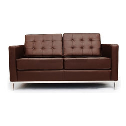 """IFN Modern - Florence Knoll Style Loveseat - Italian Leather, Chocolate - Florence Knoll, an acclaimed architect and designer, first conceived this beautiful chair in 1956. Knoll's philosophy for furniture design comes from the value that she placed on practicality and aesthetic beauty. The pieces resulting from her philosophical vision are considered to be minimalistically beautiful without compromising on durability and comfort. Knoll was also known to study and collaborate with renowned architect and designer Mies Van Der Rohe, this collaboration also lended a hand in her highly sought after artistic vision. The classic trio was designed by Knoll using a durable stainless steel frame with minimal materials. The chair features beautiful cubic cushions complimented with compressed buttons in a functional layout which provides both style and comfort to the thin, minimalist supporting arms. The Knoll Sofa, Loveseat, and Chair are becoming more and more highly desired as their minimal yet practical design can adapt perfectly into today's modern home or space.                                                                                                                                                                                                                              Overall Dimensions: 31.5"""" H x 63"""" W x 32.3"""" D"""