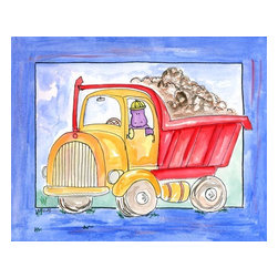 Oh How Cute Kids by Serena Bowman - Dump Truck, Ready To Hang Canvas Kid's Wall Decor, 16 X 20 - Every kid is unique and special in their own way so why shouldn't their wall decor be so as well! With our extensive selection of canvas wall art for kids, from princesses to spaceships and cowboys to travel girls, we'll help you find that perfect piece for your special one.  Or fill the entire room with our imaginative art, every canvas is part of a coordinating series, an easy way to provide a complete and unified look for any room.