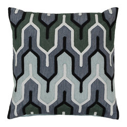 Surya Rugs - Slate Blue Laurel Green Twilight Mauve and Midnight Green Polyester Filled 18 x - - Add style and sophistication to any room with this modern pillow. This pillow has a polyester fill and zipper closure with accents of slate blue laurel green twilight mauve and midnight green. Made in India with one hundred percent cotton this pillow is durable and priced right  - Cleaning/Care: Blot. Dry Clean  - Filled Material: Polyester Filler Surya Rugs - AR112-1818P