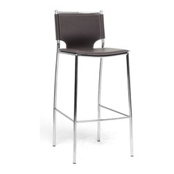 Baxton Studio - Baxton Studio Montclare Brown Leather Modern Bar Stool (Set of 2) - you,l enjoy the clean design of this contemporary leather bar stool. The shine of the chrome-finished steel frame contrasts beautifully with the matte brown bonded leather of the seat, both hallmarks of the Montclare design. The edges of the leather are finished with a single line of stitching in a contrasting cream shade. Small black plastic non-marking feet are included to protect your floor. The modern bar chair works equally well in a commercial setting as a lobby bar stool, lounge bar stool, or restaurant bar stool. The Montclare Stool is fully assembled and is made in China.  To clean, wipe with a damp cloth. Also available (sold separately) are matching counter stools and each are also offered in black leather.  Dimensions: 16.25 inches wide x 16 inches deepx 38.75 inches height, seat height: 29.25 inches