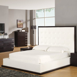 Global Furniture USA - Metro Platform Bed - The Metro Bedroom Collection is made of all oak wood veneers finished in wenge. The grand headboard and footboards are finished in a crisp white leatherette. This collection will provide a city living feel to any home. Features: -Standard with oak veneers.-Box spring not needed.-Contemporary style.-Matte wenge finish.-12 Step hand rubbed lacquer finish.-Metro collection.-Distressed: No.-Collection: Metro.Dimensions: -Overall Product Weight: 321 lbs.Warranty: -Limited 1 year warranty on finish, parts, fabric/cover, and mechanisms.