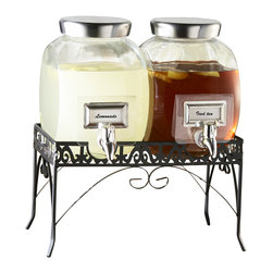 Jay Import Co - Williamsburg Beverage Dispenser Set with Stand - These 1-gallon dispensers recall old-time candy store fishbowl jars — perfect for doling out drinks at your next party. Note how they sit securely on their own metal stand.