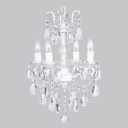 Belle & June - Glass Center Chandelier White - This strikingly elegant 4-arm crystal glass chandelier features traditional candelabra lights and hanging crystals throughout. Create a space fit for a princess and hang this in your little girls bedroom.