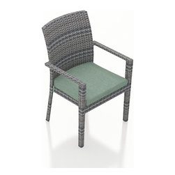 Harmonia Living - Urbana 2 Piece Weathered Stone Dining Arm Chairs, Canvas Spa Cushions - The Harmonia Living Urbana 2 Piece Rattan Patio Dining Armchairs with Turquoise Sunbrella cushions (SKU HL-URBN-WS-2DAC-SP) sport a clean, simple design that will add lots of modern style to your outdoor dining experience. The chairs feature corrosion-resistant, thick-gauged aluminum frames and High-Density Polyethylene (HDPE) wicker designed to withstand the elements. The seats are reinforced to prevent the resin wicker from stretching after repeated use, surpassing the quality of natural rattan. The wicker is a rich Weathered Stone color that is treated to resist fading, with a flat, woven design that gives this set its great modern look. The chair cushions are covered with fade- and mildew-resistant Sunbrella fabric.