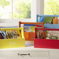 Desk Caddy - Keep art supplies in a caddy. Kids can take it over to the kitchen table to work, then bring it back to the desk when done.