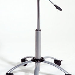 Euro Style - Malcolm Adjustable Laptop Stand - Take your work with you to any room of the house with this wonderful laptop stand. A sturdy curved tempered glass top sits on a powder epoxy finished aluminum base. The five casters make shifting from room to room quick and easy. The gas lift allows you to adjust the height for maximum viewing. The feet have heavy duty casters for ease of mobility. * Malcolm Adjustable Laptop Stand. Powder Epoxy coated aluminum base. Tempered Glass Top. Casters. Gas Lift. Some Assembly Required. Overall: 25 in. W x 13 in. D x 21.25-31.25 in. H. Base: 22.5 in. Dia.. Can extend to a maximum length of 31.25 in..