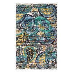 """Loloi Rugs - Loloi Rugs Aria Collection - Blue / Multi, 1'-9"""" x 5' - Expressive and relaxed, stylish and fun. The Aria Collection from India has it all. Pretty paisley patterns, flourishing flowers, dreamy damasks and magical medallion designs are printed onto 100% recycled cotton Chindi for scatter rugs that are flirty and fashionable. Dressed in a palette of bold, saturated colors that take you from cool blues and pinks to warm spice tones and modern tropical hues, too, Aria rugs come in select scatter sizes that will accent choice spaces with flair."""