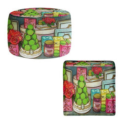 DiaNoche Designs - Laduree Window Shopping Ottoman - Lightweight, artistic, bean bag style ottomans. Coming in 2 square sizes and 1 round, you now have a unique place put rest your legs or tush after a long day. Artist print on all sides. Dye Sublimation printing adheres the ink to the material for long life and durability. Printed top, khaki colored bottom. Machine washable. Product may vary slightly from image.