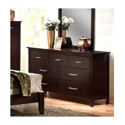 Coaster - Kendra Dresser w 7 Drawers - Contemporary style. Slightly oversized top. Perfect for storing away jeans, sweaters, shirts and other clothing items. Metal hardware. Tapered legs. Rich dark mahogany finish. 63.38 in. W x 17.75 in. D x 34.63 in. H. WarrantyBring a clean, modern look to your home with the Kendra dresser. Create a stylish vanity area for getting ready in the mornings or displaying picture frames or other decorative items.