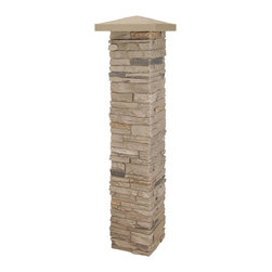 """NextStone - NextStone Faux Stone Post Cover - 2 piece, Mojave (Tan) - Manufactured with specially formulated polyurethane combined with fire retardants and UV inhibitors, NextStone™ simulated stone post columns are cast from actual stone and rock. Our unique manufacturing process gives NextStone™ products the most authentic """"faux"""" stone look on the market today. Once you see our products, you'll be asking yourself: """"Is it real rock... or is it NextStone?""""  2-piece covers can be added to existing 4x4 or 6x6 deck posts.  Easily trimmable to achieve any height.  Once assemble, seams are inconspicuous.  Post caps sold separately."""