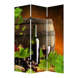 Wine Country Screen - Escape to wine country without leaving the house. This three-panel, double-sided screen lets you create a sense of intimacy in any open area, and it's made of lightweight canvas to reposition with ease. Salut!