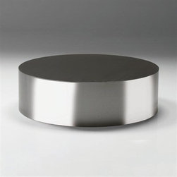 Sphere - A circular stainless steel table, as opposed to the more common cube design.
