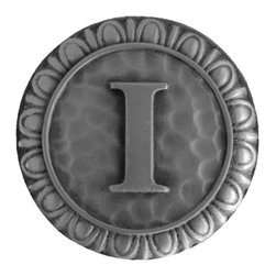 """Notting Hill - Notting Hill Initial I Knob - Antique Pewter - Notting Hill Decorative Hardware creates distinctive, high-end decorative cabinet hardware. Our cabinet knobs and handles are hand-cast of solid fine pewter and bronze with a variety of finishes. Notting Hill's decorative kitchen hardware features classic designs with exceptional detail and craftsmanship. Our collections offer decorative knobs, pulls, bin pulls, hinge plates, cabinet backplates, and appliance pulls. Dimensions: 1-3/8"""" diameter"""