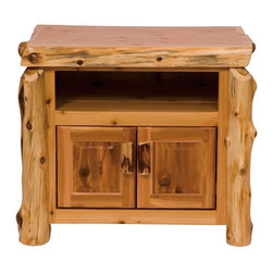 Fireside Lodge Furniture - Cedar Television Stand in Lacquer Finish - Cedar Collection. Open shelf. Storage cabinet. DVD and receiver opening. All hinges are concealed European style for a clean uncluttered look. Northern White Cedar logs are hand peeled to accentuate their natural character and beauty. Clear coat catalyzed lacquer finish for extra durability. 2-Year limited warranty. 34 in. W x 24 in. D x 30 in. H (80 lbs.). Shelve openings: 24 in. W x 22 in. D x 6 in. H