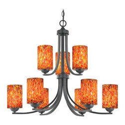 Design Classics Lighting - Modern Chandelier with Art Glass in Matte Black Finish - 586-07 GL1012C - Contemporary / modern matte black 9-light chandelier. Takes (9) 100-watt incandescent A19 bulb(s). Bulb(s) sold separately. UL listed. Dry location rated.