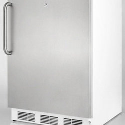 """Summit - AL750BI Series AL750LBISSTB 24"""" Compact All-Refrigerator with 5.5 cu. ft.  Adjus - Summit39s AL750LBISSTB AL750BI series compact refrigerator features a stainless steel door and a sturdy towel bar handle in brushed stainless steel which will surely add luxury to any setting The flexible design of this refrigerator allows one to use..."""