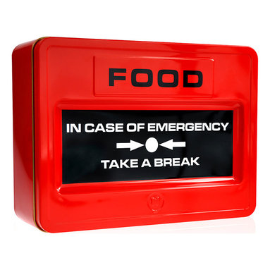 Mustard - 'Take A Break' Food Tin - Keep calm and take a break! When life's little emergencies roll around, this whimsical tin can offer comforting treats, but it's equally handy for bringing a packed lunch to the office in style.   8.07'' W x 2.95'' H x 6.1'' D Imported
