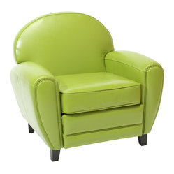 Great Deal Furniture - Hayley Apple Green Leather Club Chair - The great design makes this a chair to watch TV, relax after a long day, or take a nap!  Its large size makes it extremely cozy and comfortable. The look makes you want to sit in it and the contemporary apple green color will freshen and enrich your living room.