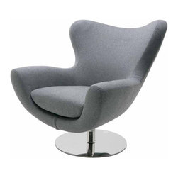 Nuevo Living - Conner Lounge Chair, Light Grey Wool - The space-age shape is just the beginning of this chair's charm. It stands on a sturdy, stainless steel pedestal and you can choose the color and upholstery — Naugahyde or wool — that suits your style and modern setting best.