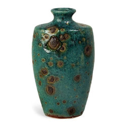 Oval Napa Vase - The reactive turquoise glaze on the Napa Vase creates a surface of intense intrigue, with an almost organic quality. For a coordinated look purchase both sizes.