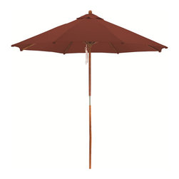 None - Premium 9-foot Round Brick Red Wood Patio Umbrella - Keep cool on your deck or patio with this 8-foot weatherproof wood patio umbrella. The sturdy wood pole and polyester umbrella provide you with UV protection. The deep brick red color adds a splash of color to your outdoor living space.