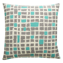 Hand-Painted Aqua 20-Inch Pillow - I'm drawn to the detail in this pillow design and equally adore the blues and the grays. This 20-inch square with a solid aqua-colored backside would display so nicely against a neutral sofa.