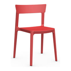 Calligaris - Skin Chair, Red - Looking for a functional chair that looks fabulous? This stylish seat has you covered. Innovative, air-molding technology and great design combine to create a subtly textured chair that's durable, lightweight, easily stackable and extremely cool.